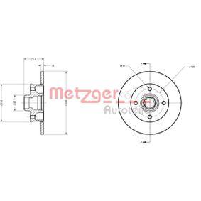 Bremsscheibe METZGER Art.No - 6110087 OEM: 191615601B für VW, AUDI, FIAT, SKODA, SEAT kaufen