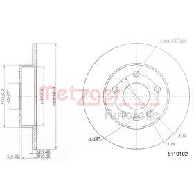 Bremsscheibe METZGER Art.No - 6110102 OEM: 9117772 für OPEL, CHEVROLET, DAEWOO, CADILLAC, ISUZU kaufen