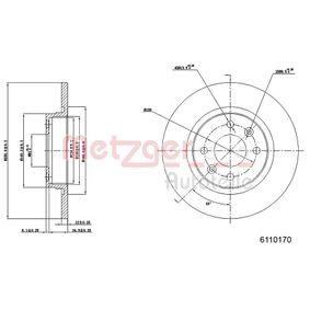 Bremsscheibe METZGER Art.No - 6110170 OEM: A4534200000 für MERCEDES-BENZ, SMART kaufen