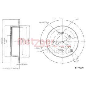 Bremsscheibe METZGER Art.No - 6110236 OEM: 584113A300 für HYUNDAI, KIA kaufen