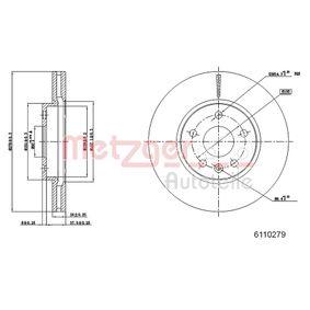 Bremsscheibe METZGER Art.No - 6110279 OEM: 509069 für OPEL, CHEVROLET, VAUXHALL kaufen