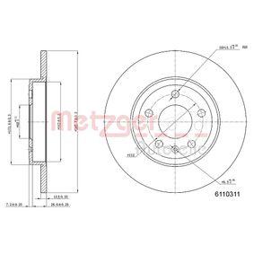 METZGER Bremsscheibe 6110311 für AUDI A4 3.0 quattro 220 PS kaufen