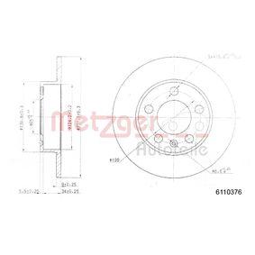 Bremsscheibe METZGER Art.No - 6110376 OEM: 1J0615601 für VW, AUDI, SKODA, SEAT, PORSCHE kaufen