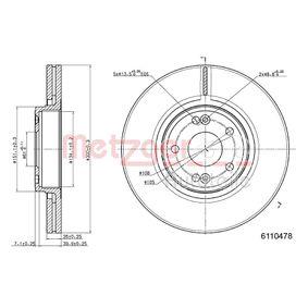 Bremsscheibe METZGER Art.No - 6110478 OEM: 7701206614 für RENAULT, NISSAN, DACIA, RENAULT TRUCKS kaufen
