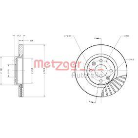 Bremsscheibe METZGER Art.No - 6110551 OEM: 7701204828 für RENAULT, NISSAN, DACIA, DAEWOO, SANTANA kaufen
