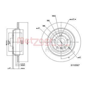 Спирачен диск METZGER Art.No - 6110567 OEM: A1644231212 за MERCEDES-BENZ, DAIMLER купете