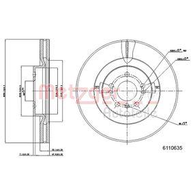 Спирачен диск METZGER Art.No - 6110635 OEM: 1644210512 за MERCEDES-BENZ купете