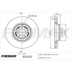 Bremsscheibe FREMAX Art.No - BD-0302 OEM: 43512YZZAA für TOYOTA kaufen