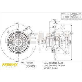 Bremsscheibe FREMAX Art.No - BD-4034 OEM: 424966 für OPEL, PEUGEOT, CITROЁN, DS kaufen