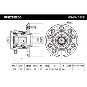 RIDEX Axle shaft bearing 654W0139