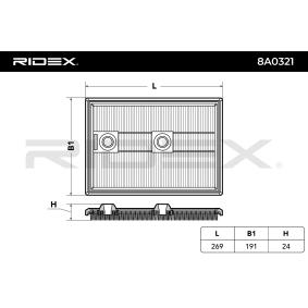 RIDEX 8A0321 Luftfilter OEM - 04E129620 AUDI, SEAT, SKODA, VW, VAG, FIAT / LANCIA, AUDI (FAW), CUPRA günstig