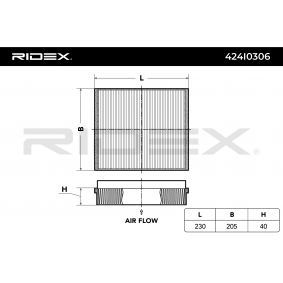 Filter, Innenraumluft RIDEX Art.No - 424I0306 OEM: A1638350147 für MERCEDES-BENZ, MAYBACH kaufen