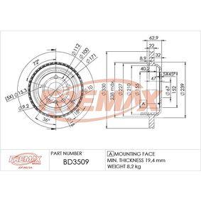 Спирачен диск FREMAX Art.No - BD-3509 OEM: A1644231312 за MERCEDES-BENZ, DAIMLER купете