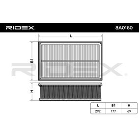 RIDEX Luftfilter 5Q0129620D für VW, AUDI, SKODA, SEAT, PORSCHE bestellen