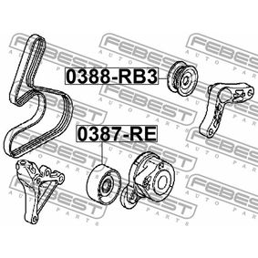 Tensioner pulley, v-ribbed belt 0387-RE FEBEST