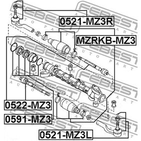 Steering rack end 0522-MZ3 FEBEST