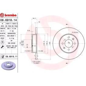 Спирачен диск BREMBO Art.No - 08.6918.11 OEM: SDB100500 за ROVER, MG купете