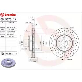 Bremsscheibe BREMBO Art.No - 09.5673.1X OEM: 26310AA021 für SUBARU, BEDFORD kaufen