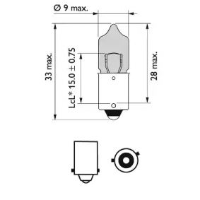 12036BVCP Bulb, indicator from PHILIPS quality parts