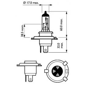 PHILIPS Крушка с нагреваема жичка, фар за дълги светлини 12342PRC1