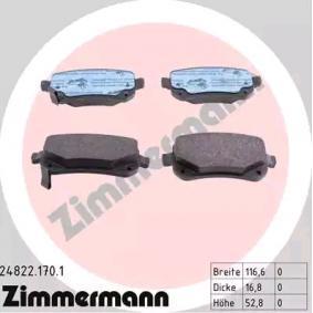 Bremsbelagsatz, Scheibenbremse ZIMMERMANN Art.No - 24822.170.1 OEM: 68029887AA für MERCEDES-BENZ, FIAT, ALFA ROMEO, JEEP, CHRYSLER kaufen