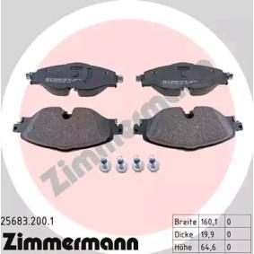 Kit de plaquettes de frein, frein à disque ZIMMERMANN Art.No - 25683.200.1 OEM: 5Q0698151D pour VOLKSWAGEN, AUDI, SEAT, SKODA récuperer