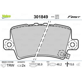 Brake pads VALEO (301849) for HONDA CIVIC Prices