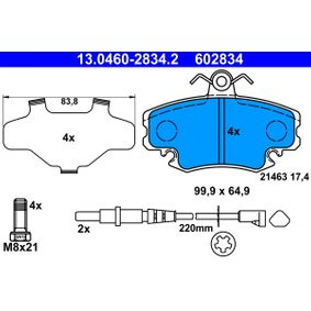 Verschleißanzeige Bremsbeläge ATE (13.0460-2834.2) für RENAULT TWINGO Preise