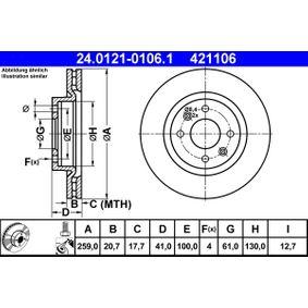 ATE Bremsscheibe (24.0121-0106.1) niedriger Preis