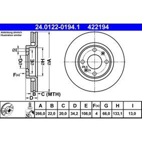 ATE Bremsscheibe (24.0122-0194.1) niedriger Preis