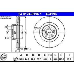 ATE Bremsscheibe (24.0124-0196.1) niedriger Preis