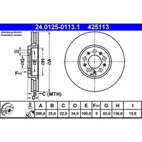 6R0615301D für VW, AUDI, SKODA, SEAT, Bremsscheibe ATE (24.0125-0113.1) Online-Shop