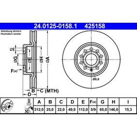 ATE Bremsscheibe (24.0125-0158.1) niedriger Preis
