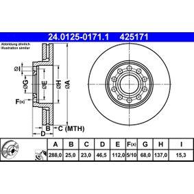 ATE Bremsscheibe (24.0125-0171.1) niedriger Preis