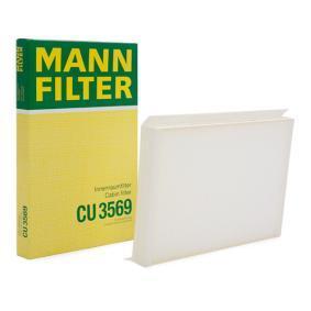 Filter, Innenraumluft MANN-FILTER Art.No - CU 3569 OEM: 2E0819638 für VW, MERCEDES-BENZ, AUDI, SKODA, SEAT kaufen