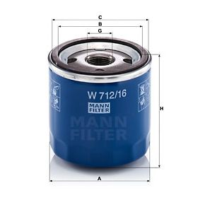MANN-FILTER Oil Filter (W 712/16) at low price