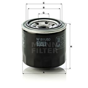 MANN-FILTER MAZDA 5 Oil filter (W 811/80)