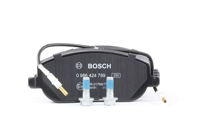 Juego de pastillas de freno BOSCH 20261 con sensor de desgaste incorporado, Chapa antichirridos, con tornillos, con accesorios