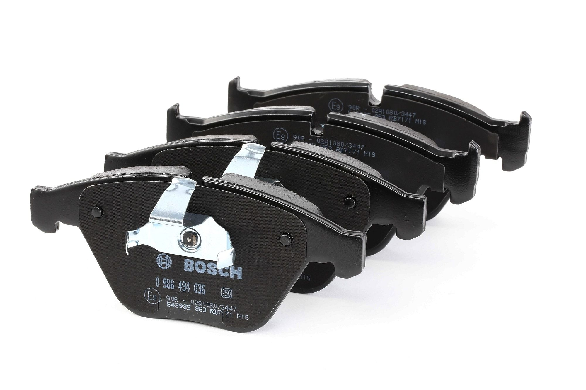 BOSCH Brake Pad Set, disc brake with mounting manual, with anti-squeak  plate, with piston clip
