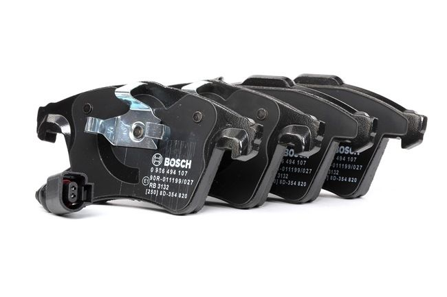 Disk brake pads BOSCH 8287D117 with integrated wear sensor, with anti-squeak plate, with piston clip