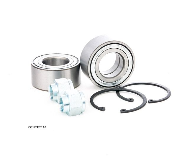 Wheel hub RIDEX 13625678 Front axle both sides, Contains two wheel bearing sets