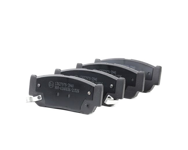 Disk brake pads RIDEX 13627979 Rear Axle, with acoustic wear warning