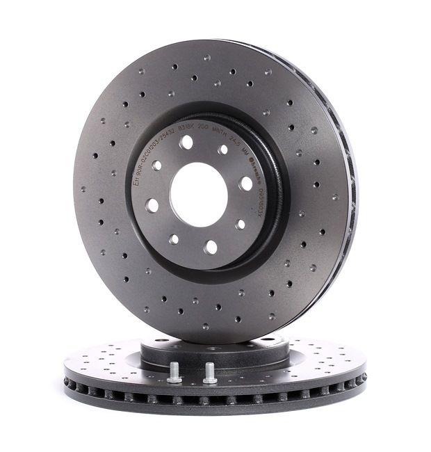 Frenos de disco BREMBO 14358844 Perforado/ventil. int., revestido, altamente carbonizado, con tornillos