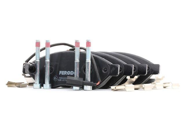 FERODO PREMIER ECO FRICTION Bremsbelagsatz Scheibenbremse inkl. Verschleißwarnkontakt, mit Bremssattelschrauben, mit Kolbenclip