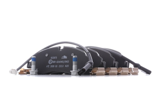 Disk brake pads ATE 22034 incl. wear warning contact, prepared for wear indicator, with brake caliper screws, with accessories