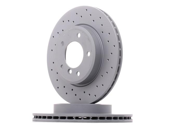 Disco de travão 150.1288.52 ZIMMERMANN Eixo dianteiro, interior ventilado, Perfurado, revestido, alto carbono Espessura do disco de travão: 22mm, Jante: 5furos, Ø: 300mm
