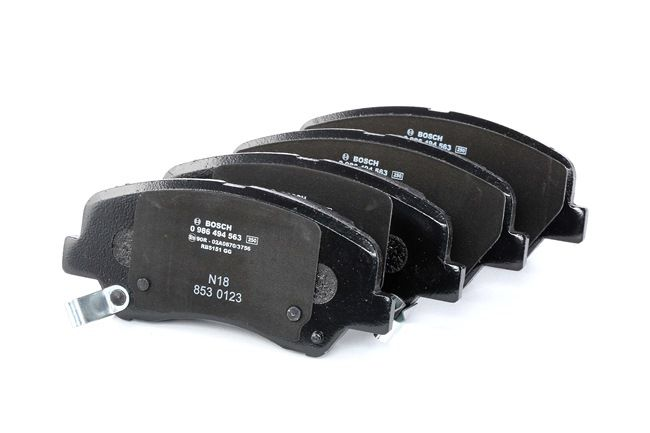 Disk brake pads BOSCH 25348 with acoustic wear warning, with anti-squeak plate