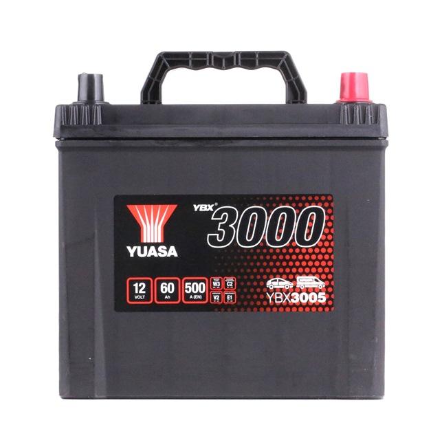 YUASA YBX3000 60Ah, 12V, 500A, N, mit Handgriffen, mit Ladezustandsanzeige, Bleiakkumulator YBX3005