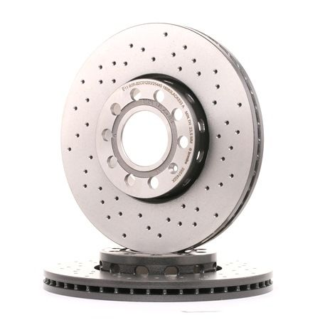 Frenos de disco BREMBO 7887455 Perforado/ventil. int., revestido, altamente carbonizado, con tornillos