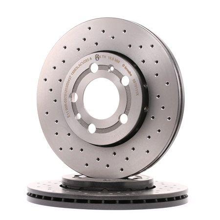 Disco de freno 09.7011.1X BREMBO Perforado/ventil. int., revestido, altamente carbonizado, con tornillos Espesor disco freno: 22mm, Núm. orificios: 5, Ø: 256mm